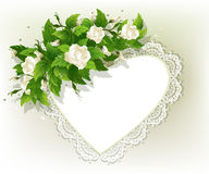 Background with white roses. Beautiful background with fresh white roses and heart Royalty Free Stock Photo