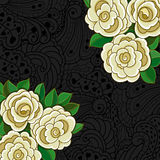Background with white roses and leaves. Royalty Free Stock Image