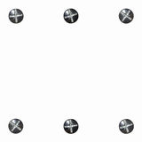 Background white six bolts Royalty Free Stock Photography