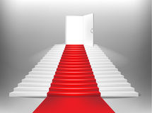 Red carpet and white staircase. 3d illustration of red carpet receding up a white staircase with an open door in the background Stock Photography