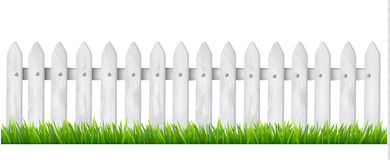 Background with a white wooden fence with grass. Vector Stock Photography
