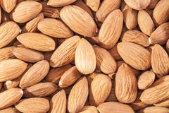 Background  of whole  almonds  group  close up Royalty Free Stock Photos