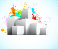 Background wiht cubes. White cubes on abstract grunge colorful background Stock Image