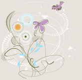 Background of wild flowers. Stylized image of wild flowers and a small bird on a light background Stock Photography