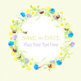 Background wildflowers wreath and banner, save the date. vector illustration Stock Images