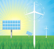 Background with wind mill and solar panel Royalty Free Stock Photos