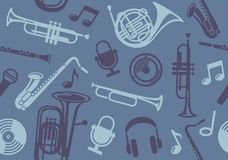Background with wind musical instruments. Seamless background with wind musical instruments. Vector illustration Royalty Free Stock Photos