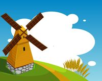 Background with windmill vector illustration