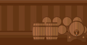 Background of wine barrels in cellar. Royalty Free Stock Images