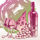 Background with a wine bottle Royalty Free Stock Images