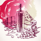 Background with a wine bottle - 2 Royalty Free Stock Images