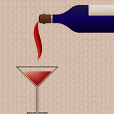 Background with wine bottle and glass Stock Photos