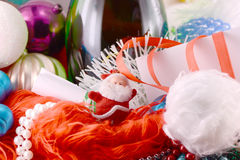 Background with wine bottle pearls and santa claus Royalty Free Stock Photos