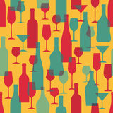 Background with Wine Bottles and Glasses - Seamless Vector Pattern Royalty Free Stock Photo