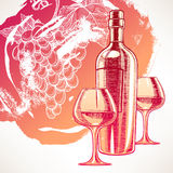 Background with wine and grapes Stock Image