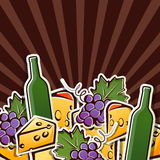 Background with wine, grapes and cheese Royalty Free Stock Images