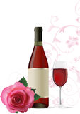 Background with wine and rose. Royalty Free Stock Photography