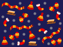 Background with winter clothing elements Royalty Free Stock Photo