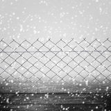 Background winter fence wooden panel wire grey Stock Photo