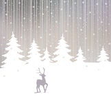 Background of winter forest and deer stock images