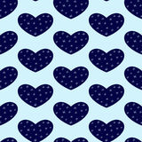 Background with winter hearts Stock Photo