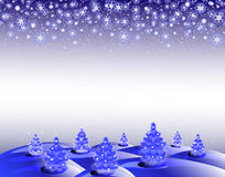 The background winter landscape with Christmas trees and snowflakes. EPS10  illustration Royalty Free Stock Photos
