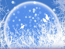 Background of winter snowy trees with birds and snowflakes Royalty Free Stock Photos
