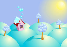 Background winter sunny day. Vector illustration Royalty Free Stock Photos