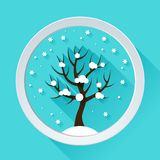 Background with winter tree in flat design style Stock Photo