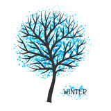 Background with winter tree. Illustration of silhouette and abstract spots Royalty Free Stock Images