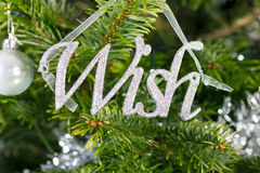 Background of a wish Christmas decoration hanging  Stock Photos