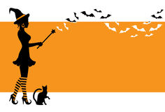 Background with a witch for Halloween. Elegant silhouette of a witch holding a magic wand and flying bats. Witch is wearing a hat and striped stockings. Vedbma Royalty Free Stock Photo