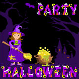 Background with witch magic pot spoon and castle, bat, an evil pumpkin  the text Halloween vector concept plase for your inscripti Stock Images