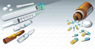 Background With A Medical Syringe, Tablets. Royalty Free Stock Photos
