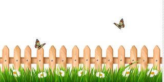 Free Background With A Wooden Fence With Grass, Flowers Stock Photo - 40277050