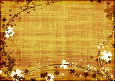 Background With Brown Lines And Leaves Clovers Stock Image