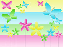 Background With Butterflies And Flowers Royalty Free Stock Images