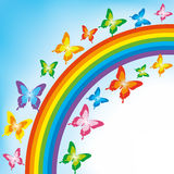 Background With Butterfly And Rainbow Stock Photo