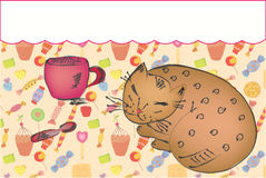 Background With Cat, Cup And Sweets Royalty Free Stock Photo