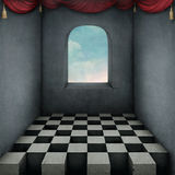 Background With Chess Board And Curtains Stock Photos