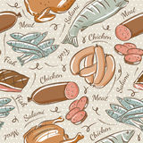 Background With Chick, Fish, Salami And Sausage Royalty Free Stock Photo