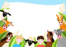 Background With Children And Happy Farm Animals Stock Photos