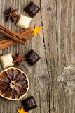 Background With Cinnamon, Anise, And Chocolate Royalty Free Stock Photography