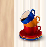 Background With Colorful Cups Of Coffee. Royalty Free Stock Photos