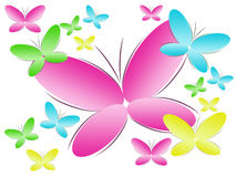 Background With Colour Butterflies Stock Photo