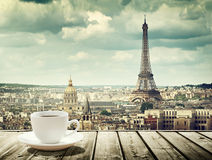 Background With Cup Of Coffee And Eiffel Tower In Paris Royalty Free Stock Photos