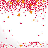 Background With Falling Hearts In Red Stock Image