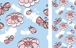 Background With Flowers And Butterflies Royalty Free Stock Image