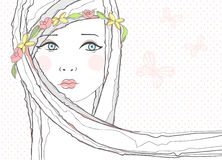 Background With Girl And Flowers In Her Hair Stock Images