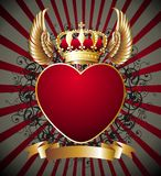 Background With Heart,wings And Gold Royal Crown Stock Image
